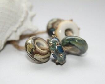 Lampwork beads, glass beads, artist beads, nature, handmade glass beads, 15-16 mm