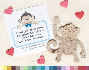 15 Seed Paper Monkeys Baby Shower Favors with Personalized Monkey Cards - Zoo Baby Shower Plantable Paper Flower Seeds