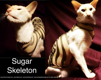 Sphynx Cat Clothes Sugar Skeleton Tattcat™ Chinese Crested Dog Clothes Tattoo dog clothes Bambino Cat . Gifts for Pets