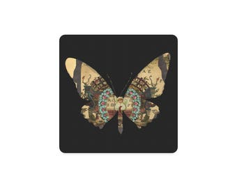Deco Steampunk Butterfly Victorian Coaster Set Of 4 Home Decor Table Protector Neoprene