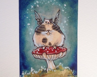 Fat Fae Kitty - Limited Edition ACEO print