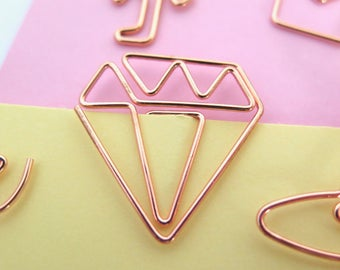 Diamond Planner Paper Clips Set of 4 Gems Accessories Page Marker
