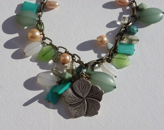 GREAT bracelet with silver charms and pearls