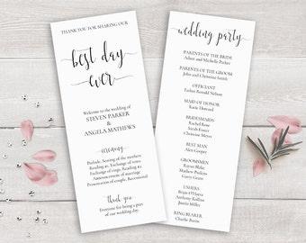 Wedding Program Template, Printable Order of Ceremony, Wedding Ceremony Program Template, the best day ever, Kraft Wedding Program Download