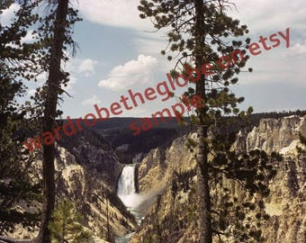 DIGITAL DOWNLOAD for Printing. 1940 Color Kodachrome Photo. Grand Canyon Lower Falls. Artist Point. Yellowstone Park. Cabin Camper RV Decor