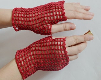 Mahogany Crochet Lace Mittens, Fingerless Gloves  for women,  Gothic, Vampire, Victorian, Prom, Bridal
