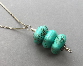 Genuine Turquoise Pendant, Beaded Gemstone Necklace, Hexagon Pendant, Boho Pendant Necklace, Sterling Silver Necklace, Gift for Her