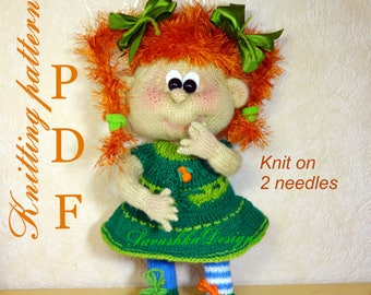 Knitting Pattern doll Pippi Longstocking Doll knitting pattern Knit toy Toy knitting pattern knitting flat knitted toy girl Doll mothers day