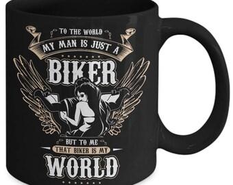 Bikers wife mug-Mountain biking mug-Mountain biking-Mountain biking mug for her-Mountain biking gift-Mountain biking gift for bikers wife