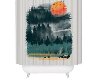 Wilderness Print Shower Curtain Inspirational Outdoor Camping Hiking Forest Nature Lover Bears Waterproof Fabric Bathroom Decor