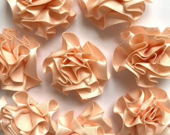 4 Large Peach Ribbon Ruffle Roses Rosettes Flowers 3.5cm  - Card Making Embellishments Craft Sewing