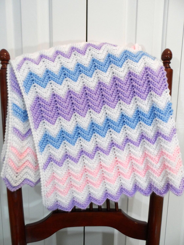 Baby Blanket Crochet Pattern, Pastel Chevron, Ripple Afghan, Crib ...