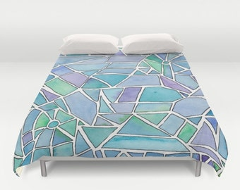 Beautiful Duvet Cover - Abstract blue, teal and purple design, bedroom linens, bright,  watercolor, vibrant modern decor