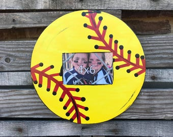 Finished Softball 4x6 Picture Frame, Painted, Home Decor, Sports