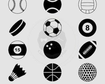 Sport Balls Silhouettes Clipart,sport clipart,balls clipart,silhouettes clipart,digital download