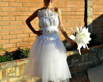 Wedding Top-Wedding Dress Top-Two Piece Wedding Dress-Wedding Separates-Bonjour Ruffle Bubble Tulle Top-Tissue Linen-Matching Tie Sash