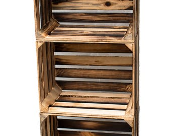 Set of 3 new fruit crates crates wood crates flamed shabby 50 cm set of vintage stable and cleaned