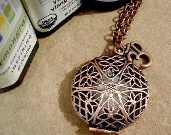 Copper Aromatherapy Locket and Necklace with Om Charm - Copper Filigree Locket Aromatherapy Necklace - Aromatherapy Diffuser Jewelry - OM