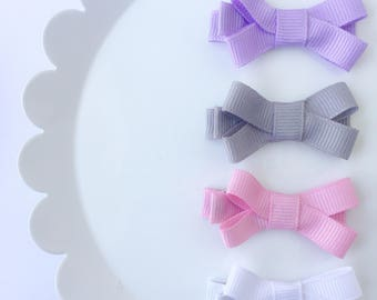 Petite Bows, Baby Bow Clips, Mini Clips, Bow Set, Mini Ribbon Bows
