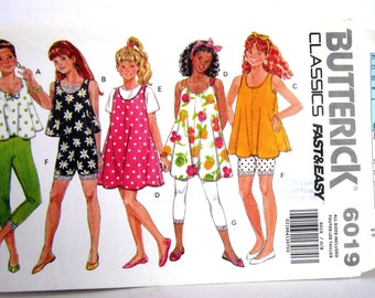 Girls Leggings Dress Jumper Shorts Top Wardrobe Butterick 6019 Sewing Pattern All Size S M L, Very Easy Fast&Easy Classics, Elastic Easy Fit