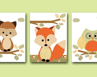 Owl Nursery Fox Nursery Canvas Art Girl Boy Baby Nursery Decor Kids Wall Art  Kid Art