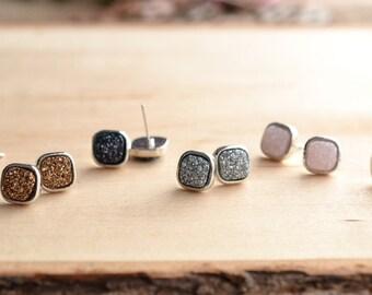 SALE!! Square Druzy Stud Earrings! Drusy stud earrings! 7 colors!!