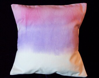 Pink and Violet watercolor pillow cover