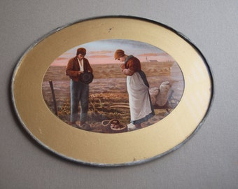 The Angelus religious wall art devotional art vintage 30s Jean Francois Millet peasants praying in field oval wall art shabby cottage chic