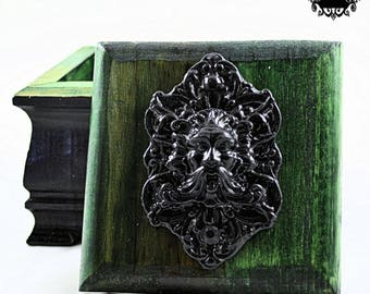 GreenMan Wooden Trinket Box - Green Man - Black and Hunter Green - Victorian Gothic Style