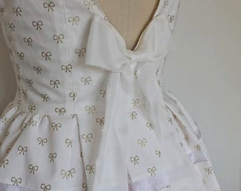 White Simple Cotton JSK Dress with Gold Metallic Bows, Sheer Organza Panels, and Pleated Skirt Sweet Lolita