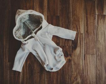Oatmeal fur lined hoodie.  Sitter