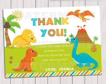 Dinosaur Thank you card / Note Card Dinosaur / Dinosaurs thank you card Personalized Printable pdf