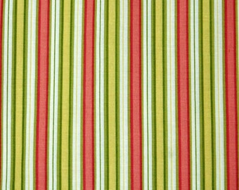 Lemon green, coral & yellow stripes fabric, 100% cotton fabric for general arts and crafts and all sewing projects.