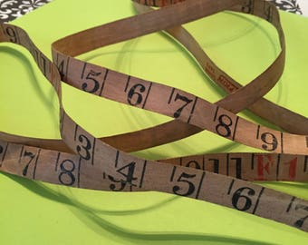 Tape Measure Piece 1 Yard / Vintage Cloth Numbered Tape Measure Cut Section Sold by The Yard