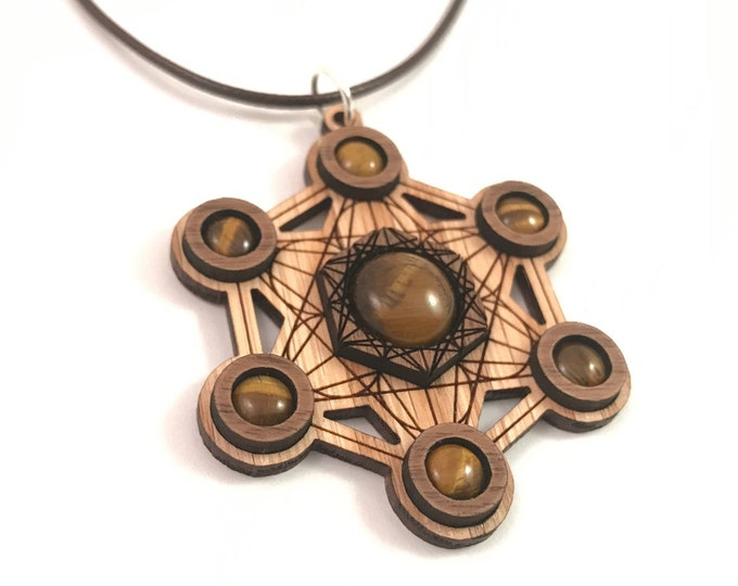 Featured listing image: Tigers Eye and Wood Metatron's Cube Pendant - Natural Sustainable Wooden Necklace with 7 Genuine Gemstones - Walnut on Oak