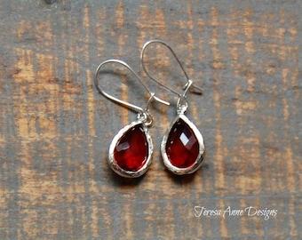 Ruby Red Glass Gem Earrings