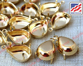 Tear Drop Pear 14x10mm Prong Setting Close Closed Back 24K Gold Plated- 1 Loop Ring Made in USA