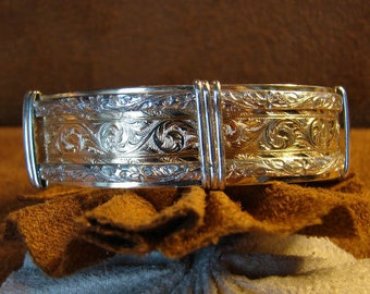 Wire Wrapped Floral Bangle Bracelet