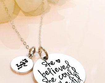 Runners Necklace-Marathon Necklace-Half Marathon Necklace-Full Marathon Necklace- Runners Necklace-She believed she could so she did gift-
