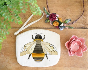 Bee Canvas Zip Bag, Makeup Bag, Coin Purse, Small Accessory Pouch, Stocking Filler, Bee Gift