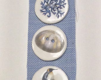 Small Sea Handmade Porcelain Buttons by Caroline Barnes