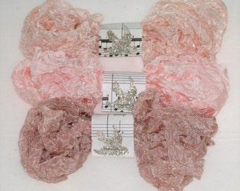 Crinkled Seam Binding 18 YARDS , BABY'S BREATH,  Rosy Beige Ribbon , Pinkish , Flesh , Vintage style Ribbon