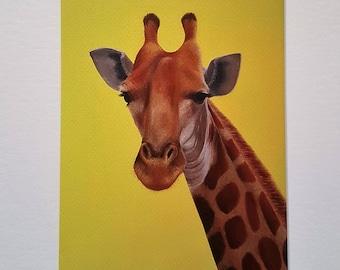 Giclée-Druck von original Ölgemälde montiert: Giraffe