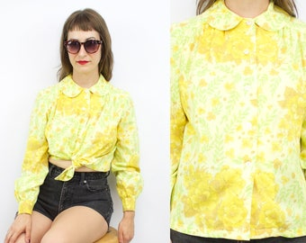 SALE - Vintage 60's 70's Yellow Floral Cotton Peter Pan Collar Blouse / 1960's Summer Blouse / Goldenrod / Women's Size Small/Medium