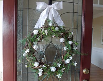 Spring Wreath-Spring Wreaths for Front Door-Mother's Day Wreath-Summer Wreath-Summer Wreaths for Front Door-Wedding Wreath-Romantic Wreath