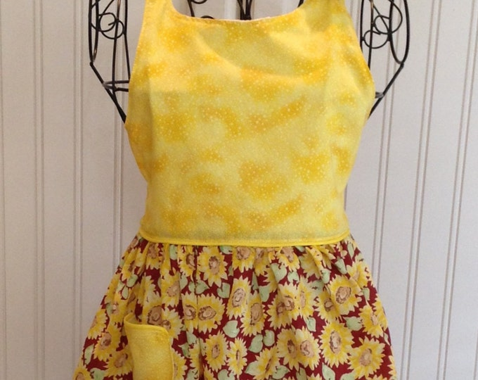 Vintage style girls full apron sunflowers burgundy yellow flowered ties yellow bodice yellow trim bib style bodice button bib