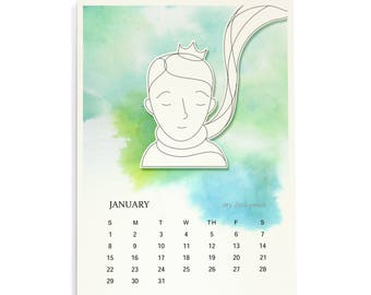 Little Prince - 2018 Wall Calendar, A4 Watercolor Calendar,  Children Room Decor, Gift for Le Petit Prince Fans, Kids, and Grow-up