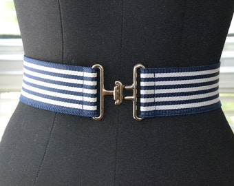 Vintage 80s/90s - Ahoy There - Blue & White Nautical Stripe Belt - Spring Summer Style - m/L