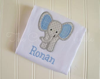 Custom Elephant Baby Outfit for Baby Boy in Grey and Blue, Elephant Nursery, Elephant Baby Shower, Elephant Applique, Baby Elephant, Gift