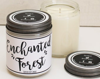Enchanted Forest Scented Candle - 8 oz Candle | Unique Candle Scent | Scented Soy Candle | Candle Handmade | Personalized Candle